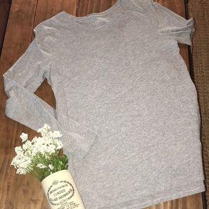 Loft long sleeve cotton tee // gray // size medium